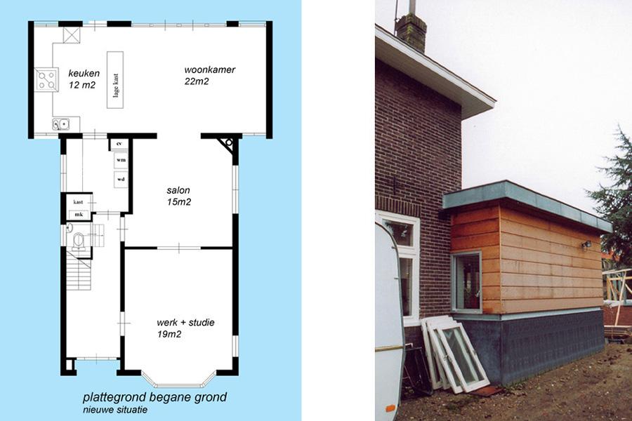 landsmeer uitbreiding woonhuis architect Delft